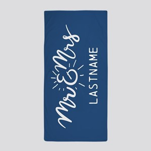 Mr and Mrs Trendy Script Personalized Beach Towel