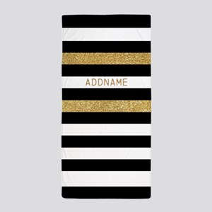 Gold Black Stripes Faux Glitz Personal Beach Towel