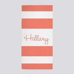 Coral Stripes Personalized Beach Towel