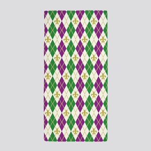 Mardi Gras Argyle Beach Towel