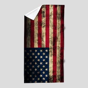 Vintage American Flag Grunge Beach Towel