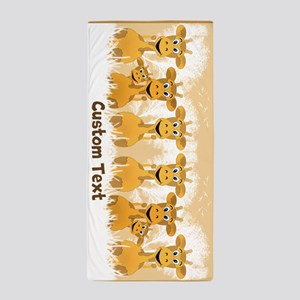 Personalized Giraffes Beach Towel