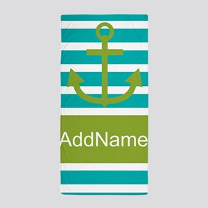 Teal Green Stripe Anchor Personalized Beach Towel