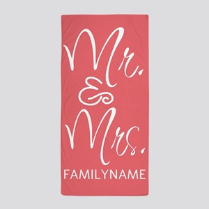 Coral and White Mr. and Mrs. Monogram Beach Towel