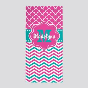 Pink Teal Quatrefoil Personalized Beach Towel