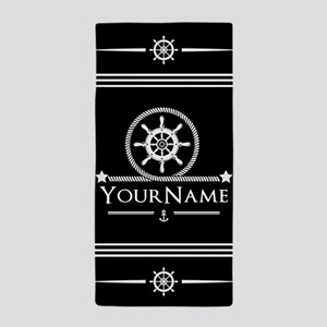 Black and White Nautical Anchor Monogr Beach Towel