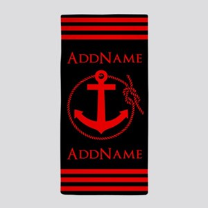 Red and Black Anchor Rope Personalized Beach Towel