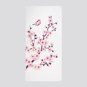 Cherry Blossom with Butterfly Beach Towel