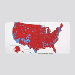 Trump vs Clinton Map Beach Towel
