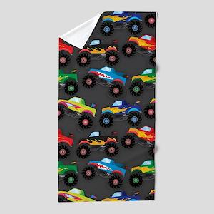 Cool Monster Trucks Pattern, Colorful Kids Beach T