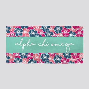 Alpha Chi Omega Flower Beach Towel