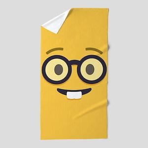 Nerdy Emoji Face Beach Towel