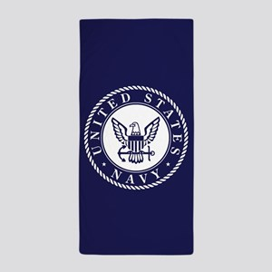 US Navy Emblem Blue White Beach Towel
