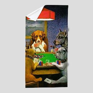Dogs Playing Poker Beach Towel