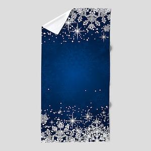 Decorative Blue Winter Christmas Snowf Beach Towel