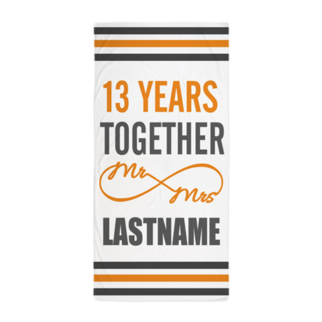 13th Wedding Anniversary Gift For Him Beach Towel By Customgifts123