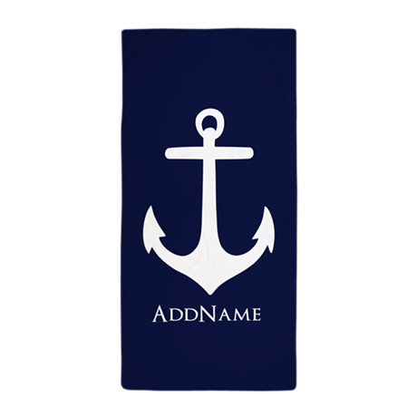 nautical anchor personalized beach towel by customgifts123. Black Bedroom Furniture Sets. Home Design Ideas
