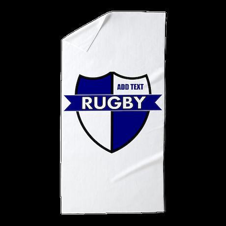 Rugby Shield White Blue Beach Towel