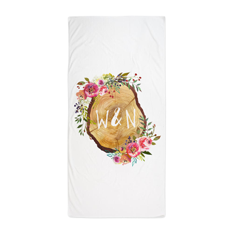 Monogram Initials in Wood Beach Towel