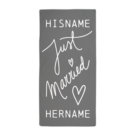 Just Married Personalized Beach Towel