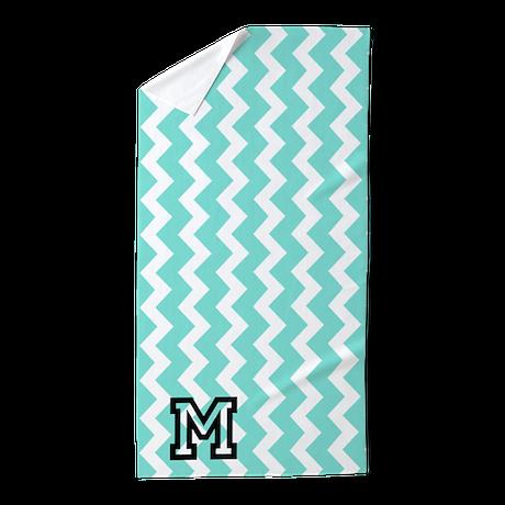 Aqua White Chevron Monogram Beach Towel