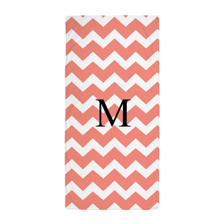 Coral White Chevron Monogram Beach Towel