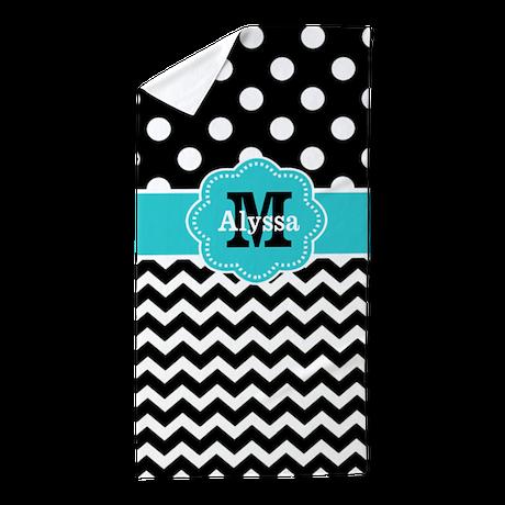 Teal Black Dots Chevron Personalized Beach Towel