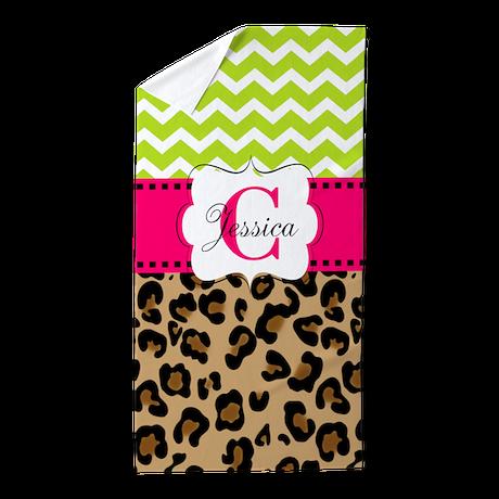 Leopard Pink Green Chevron Personalized Beach Towe