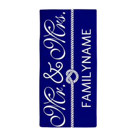 Navy Blue and White Personalized Famil Beach Towel