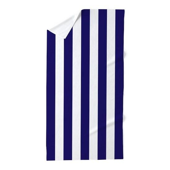 White Vertical Striped Beach Towel