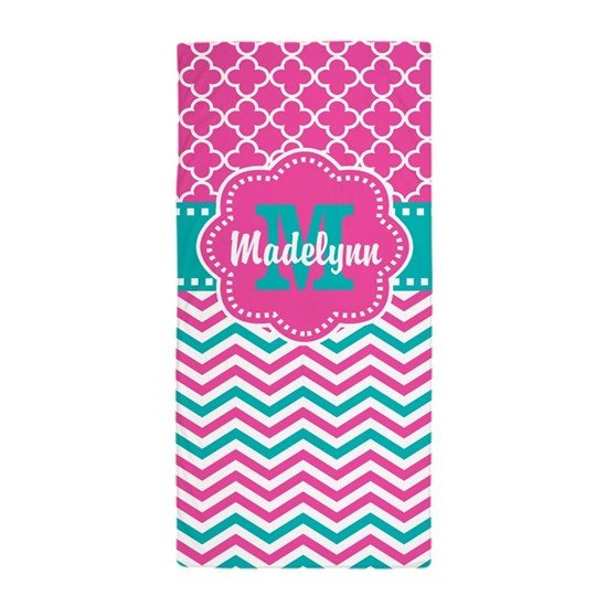 Pink Teal Quatrefoil Personalized