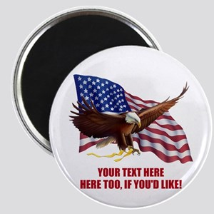 "CUSTOMIZED PATRIOTIC FLAG EAGLE MESSAGE 2.25"" Magn"