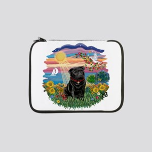 "Autumn Sun - Black Pug 17 13"" Laptop Sleeve"
