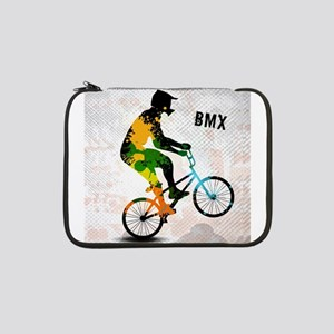"BMX Rider with Abstract Paint Sp 13"" Laptop Sleeve"