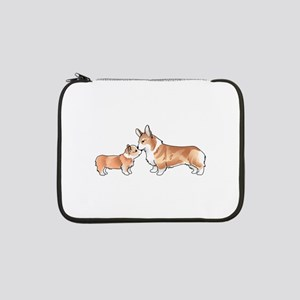 "CORGI ADULT AND PUP 13"" Laptop Sleeve"