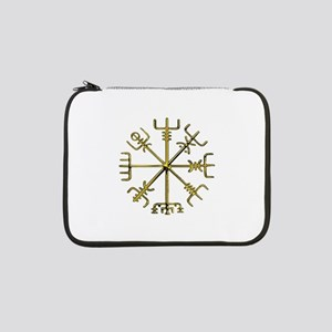"Gold Vegvisir - Viking Compass 13"" Laptop Sleeve"