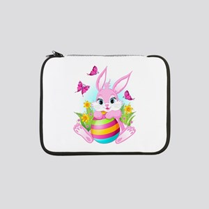 """Pink Easter Bunny 13"""" Laptop Sleeve"""