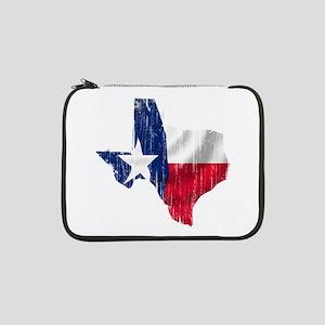"""Texas Shape Flag Distressed 13"""" Laptop Sleeve"""