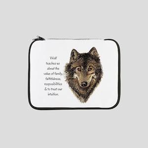 "Wolf Totem Animal Guide Watercolor Nature Art 13"""