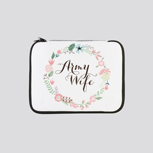 """Army Wife Floral Wreath 13"""" Laptop Sleeve"""
