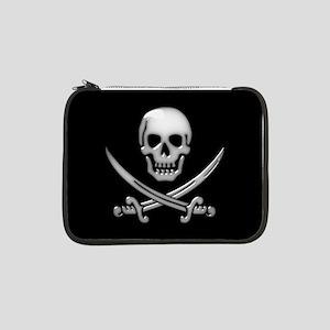 """Glassy Skull and Cross Swords 13"""" Laptop Sleeve"""