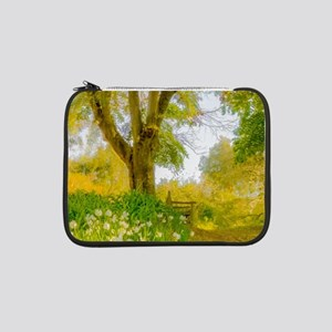 """Golden Scene with Tree and Bench 13"""" Laptop Sleeve"""