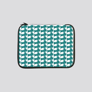 "Teal and White Dachshund Wiener 13"" Laptop Sleeve"