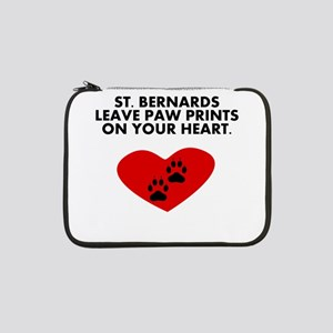 "St. Bernards Leave Paw Prints On Your Heart 13"" La"