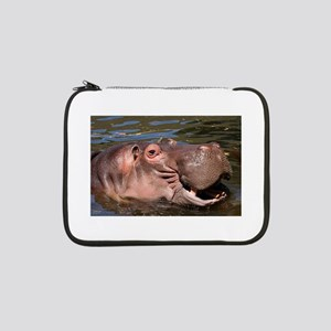 "Happy African Hippo in water 13"" Laptop Sleeve"