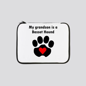 "My Grandson Is A Basset Hound 13"" Laptop Sleeve"