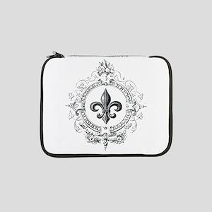 """Vintage French Fleur de lis 13"""" Laptop Sleeve"""