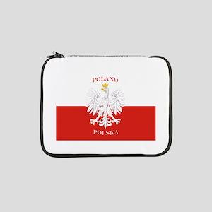 """Poland Polska White Eagle Flag 13"""" Laptop Sleeve"""