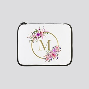"""Floral and Gold Monogram 13"""" Laptop Sleeve"""