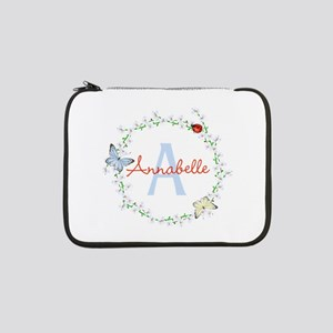 "Cute Butterfly Floral Monogram 13"" Laptop Sleeve"